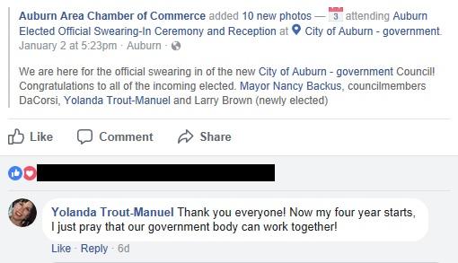 yolanda trout facebook comment
