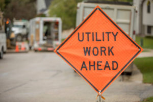 Road construction safety sign, Utility Work Ahead, while repairing a street. auburn, utility work, detour, traffic, auburn wa road work