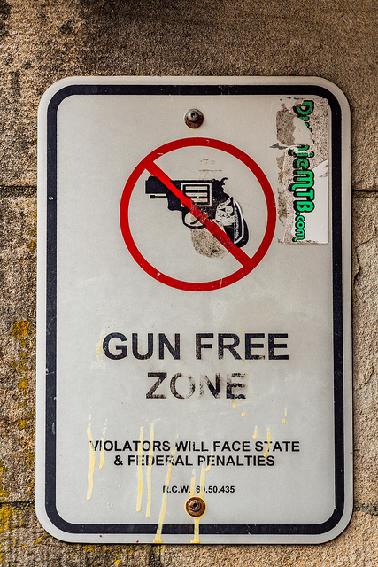 Gun Free Zone, Gun Free Zone school sign