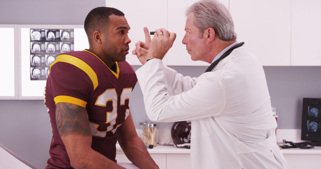concussion, doctor, sports, football player,