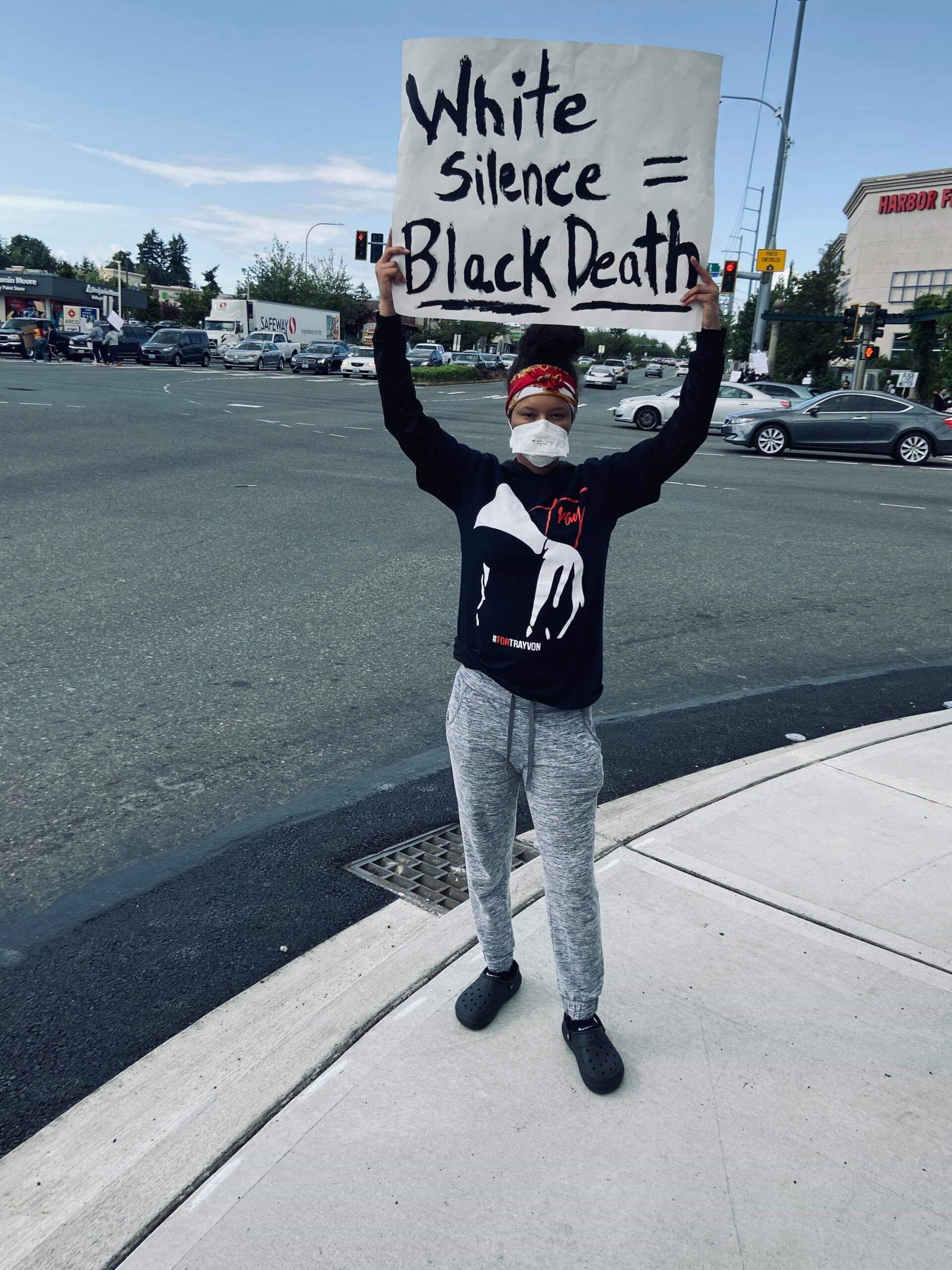 Saudia sanders, federal way protest, george floyd, blm, black lives matter, blm protest, auburn wa protest, black live matter protest, peaceful protest