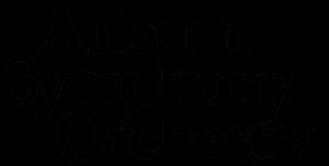 Logotipo de la Orquesta Sinfónica de Auburn en blanco y negro