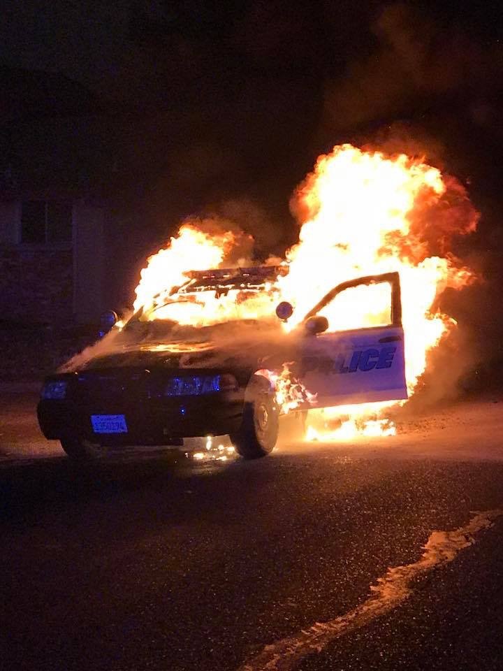 tubbs fire, santa rosa fire, santa rosa police department, police car on fire, california wildfire