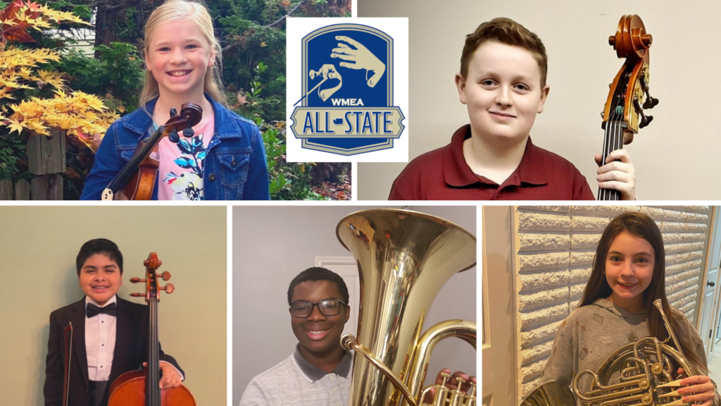 A photo collage of Mt. Baker orchestra and band students holding their instruments with the WMEA All State logo inset.
