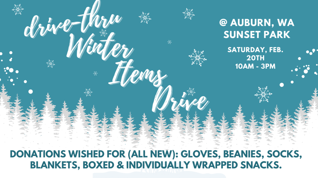 A winter themed flyer promoting the Drive Thru Winter Items Drive