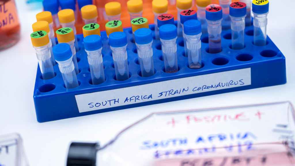 """test tubes sit in a blue tray labeled """"South Africa Strain Coronavirus"""" A larger bottle lays in front of the tray of samples with blurred writing on it."""