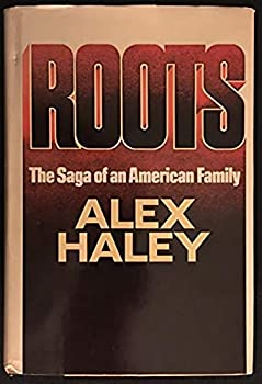 The brown, tan and rust colored front of the book Roots by Alex Haley