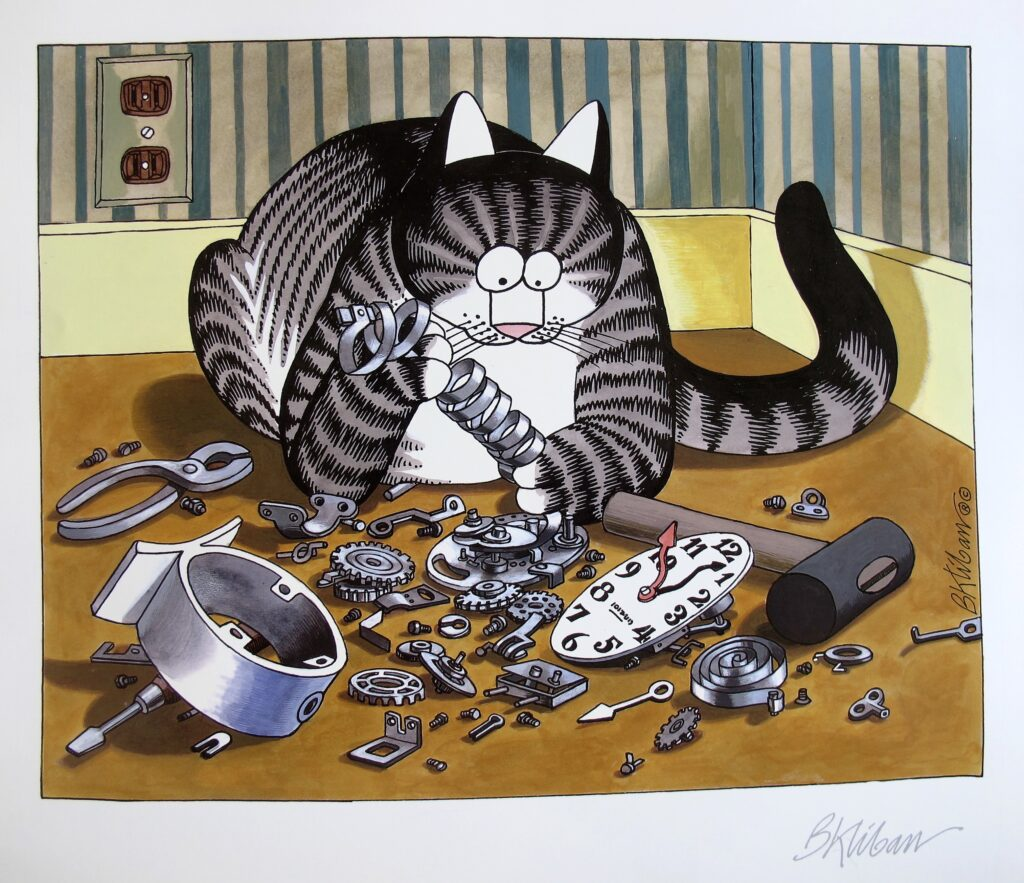 a cat sits in front of a broken clock