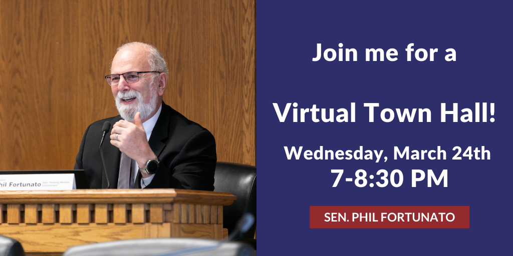 A virtual hall announcement graphic, including a photo of Senator Phil Fortunato speaking in Olympia. Information on graphic is included in article.