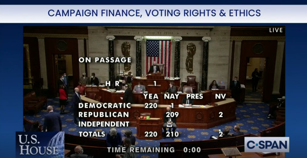 A screengrab from the House of Representatives vote on HR 1