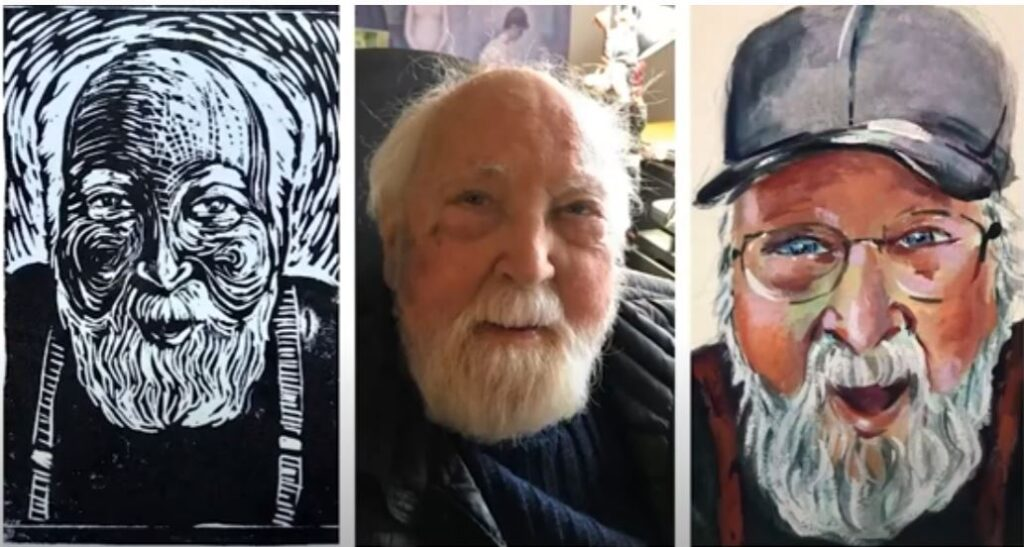 3 images of Dick Brugger, one sketch, one photograph, and one painting. All are of Dick's smiling face