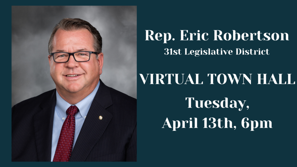 graphic with information for Eric Robertson's town hall information contained in article