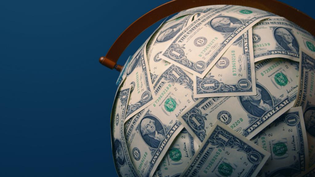 A globe made of money