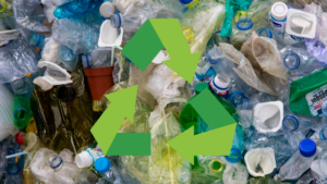 Crumpled plastic garbage with a green recycling logo overlaying it