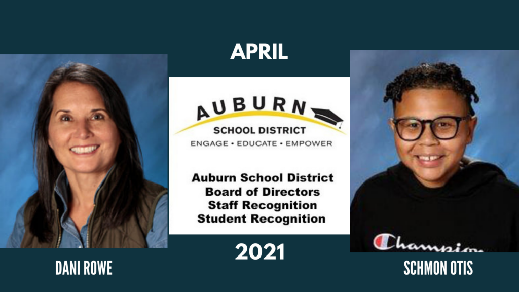 a graphic showing April's ASD outstanding staff member and student of the month, Dani Rowe and Schmon Otis
