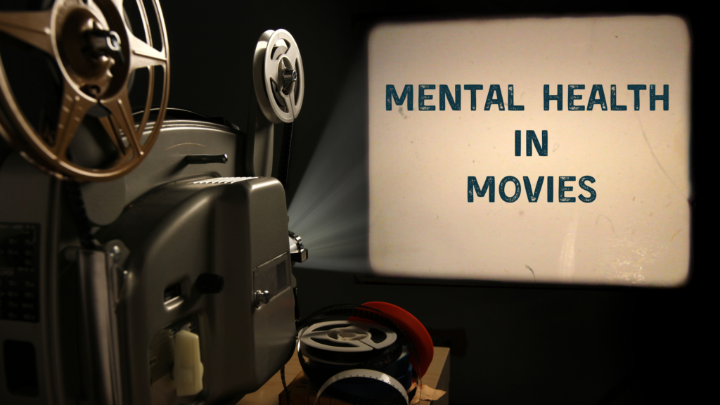 """a reel to reel film projector plays on a screen, the words """"Mental Health in Movies"""" on the screen"""