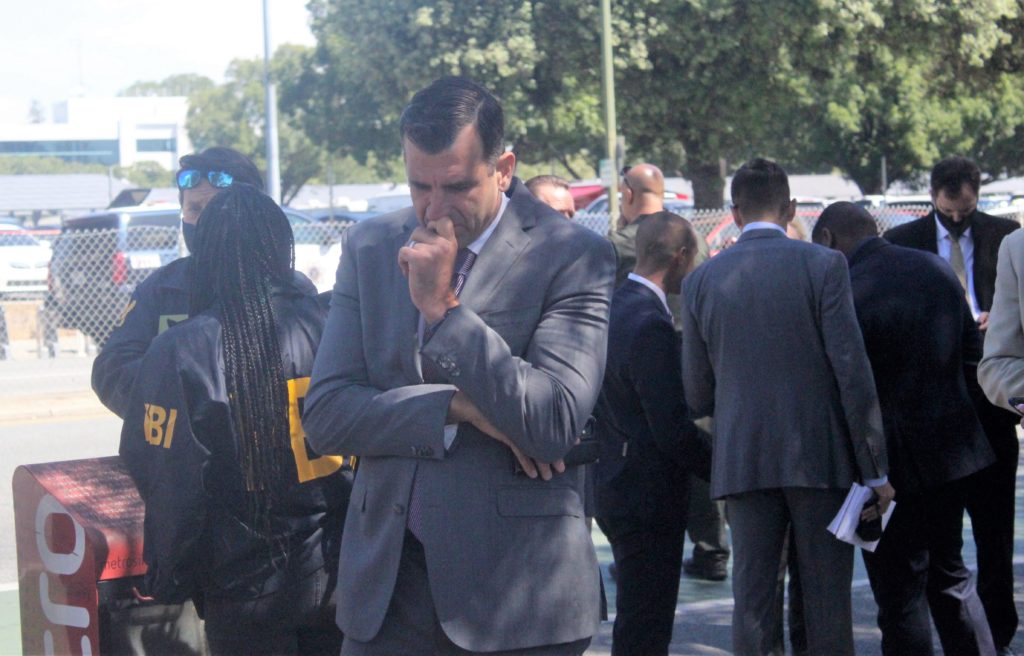 San Jose Mayor Sam Liccardo appears distraught at the scene of the VTA shooting in San Jose.