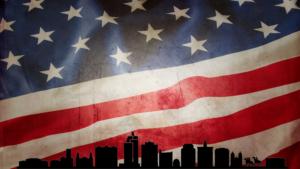 A US Flag with the san jose skyline on it