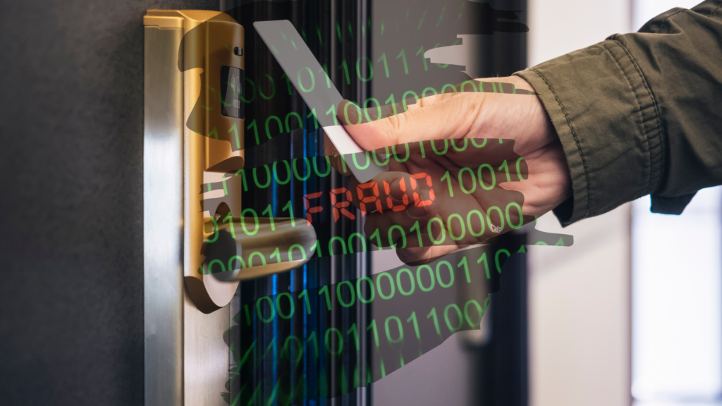 """a man holds a hotel keycard over the lock, binary code with the word """"fraud"""" in the middle overlays the image"""