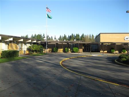 the driveway up to Lea Hill Elementary school