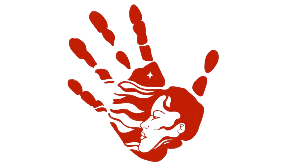 a red MMIW hand with a indigenous woman's face woven into the palm