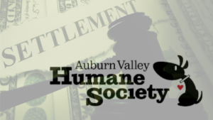 A lawsuit settlement graphic overlaying the AVHS logo