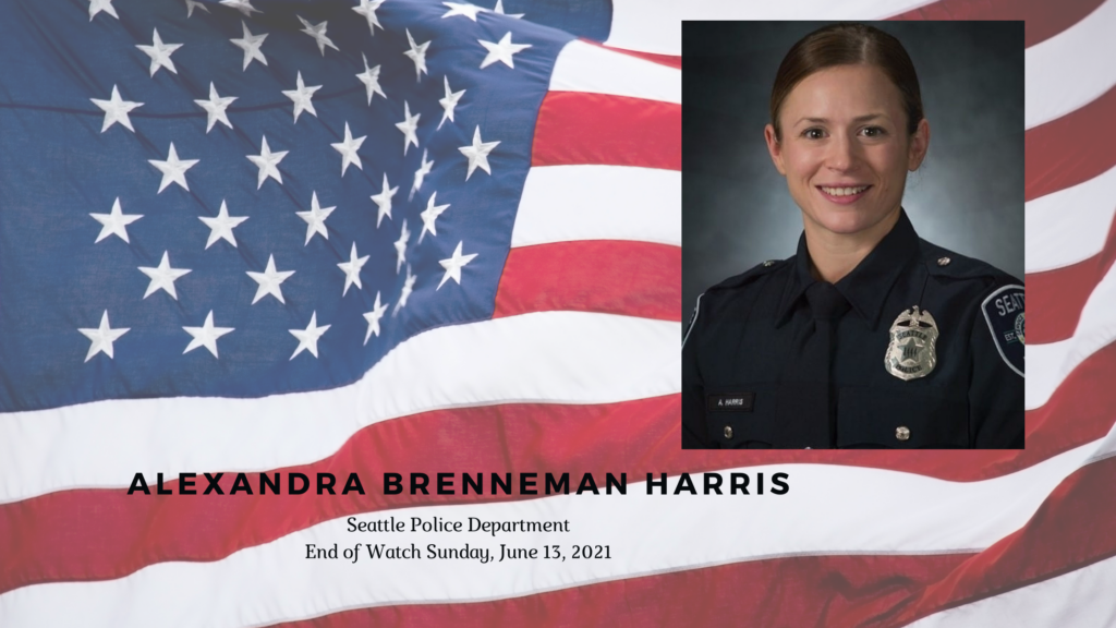 an american flag background with a photo of APD Officer Lexi Harris overlaying it