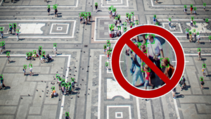 a distance photo of people on a plaza, green squares around each person. A grouping of people are zoomed in on, focusing on them., A red NO symbol lays over the circle