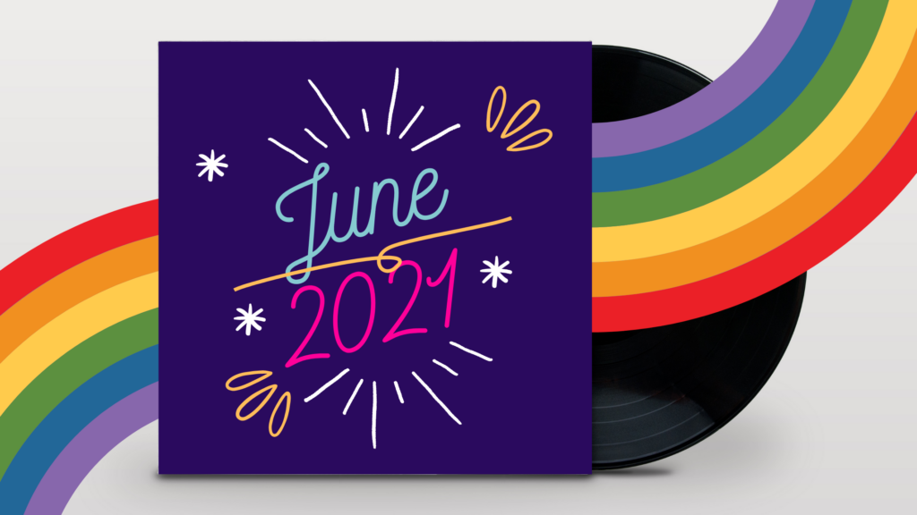 a rainbow cuts through a purple square, June 2021 in the middle of the square