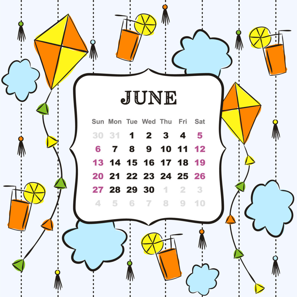 Thematic template for a calendar for 2021. The month of June. Design for the calendar on the theme of summer, clouds, kites and lemonade. Pattern for printing yearbooks and notebooks. Vector hand-drawn illustration, doodle style.