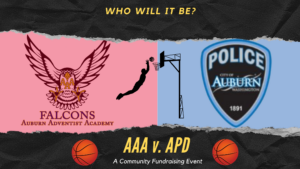 A graphic announcing the AAA v APD community basketball game. Details contained within the article.