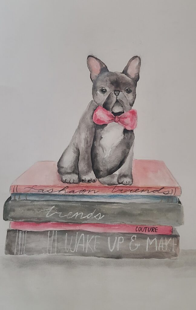 Drawing of a 'Trendy Dog' by Erika Rusak