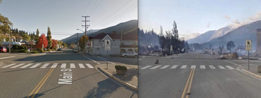 Lytton main street before and after the fire