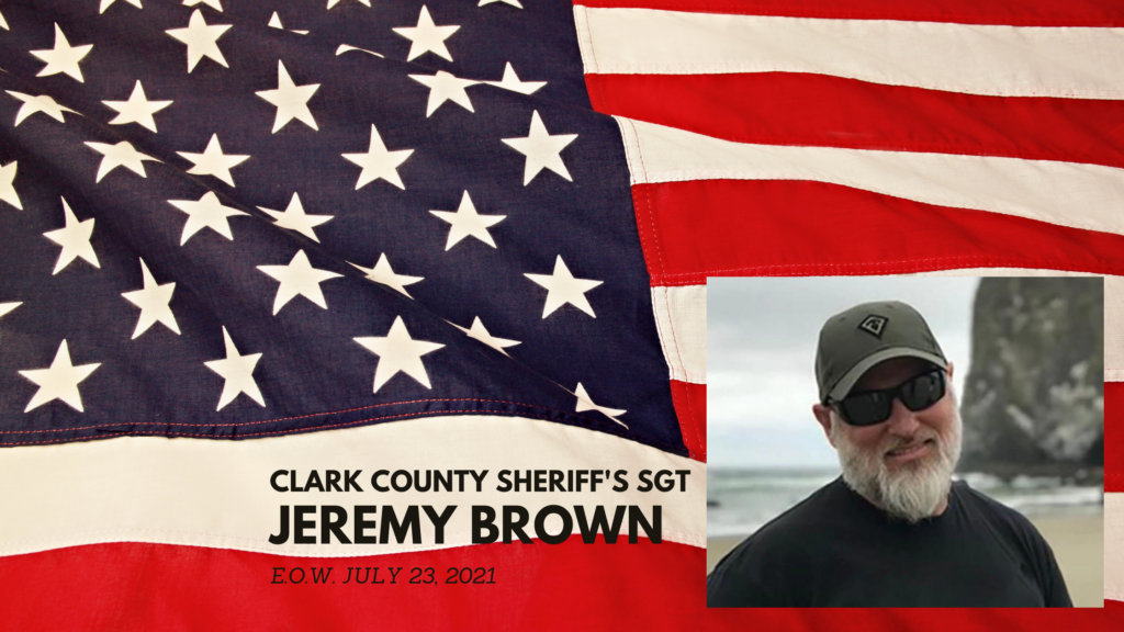 a graphic of a US flag with a photo of Deputy Jeremy Brown overlaid
