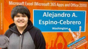 a graphic celebrating Alejandro Espino-Cebrero's second place win