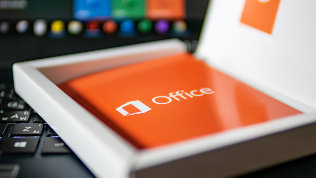 Logo of Microsoft Office software on the product key package.