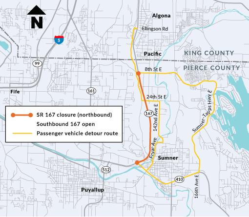 a map of the SR-167 passenger car detour