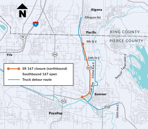 a map of the SR-167 truck detour