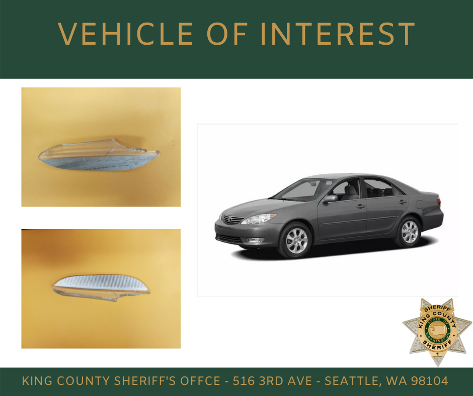 KCSO provided graphic of a Toyota Camry and headlight fragments,