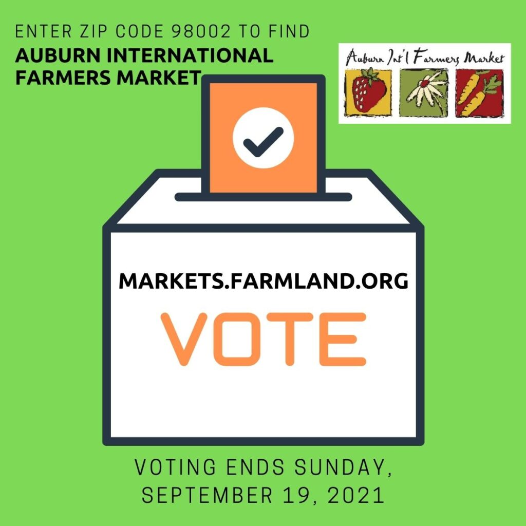 a graphic promoting voting for the auburn farmers market in the 13th annual America's Farmers Market Celebration