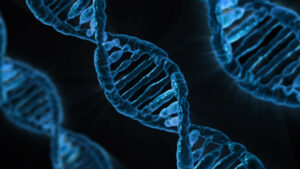 DNA strains in the color blue