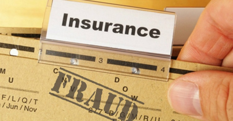 a file folder tabbed 'insurance' is stamped with 'FRAID'