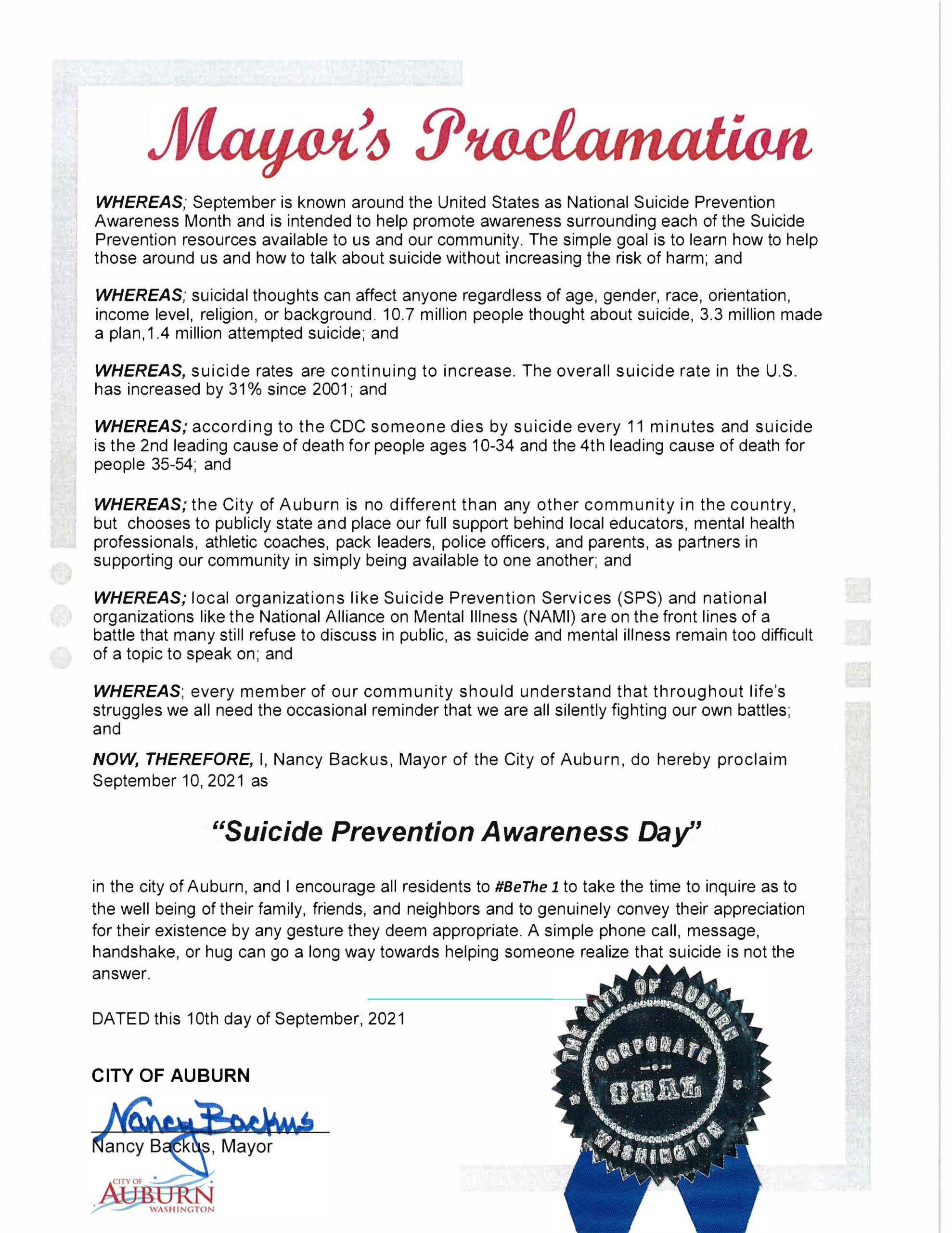 Mayor Nancy Backus' 2021 Suicide Prevention Day proclamation