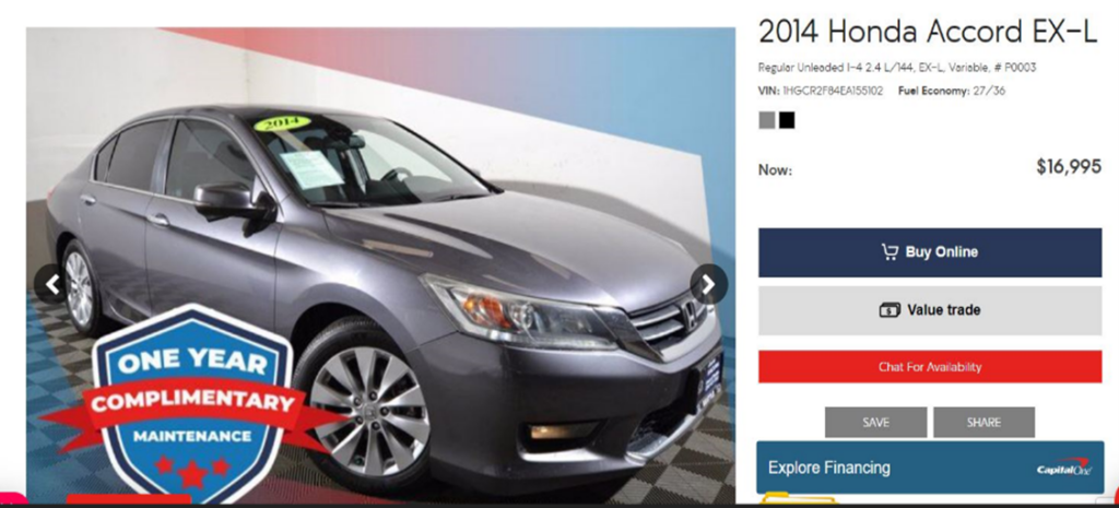 An ad for a silver honda involved in an armed robbery