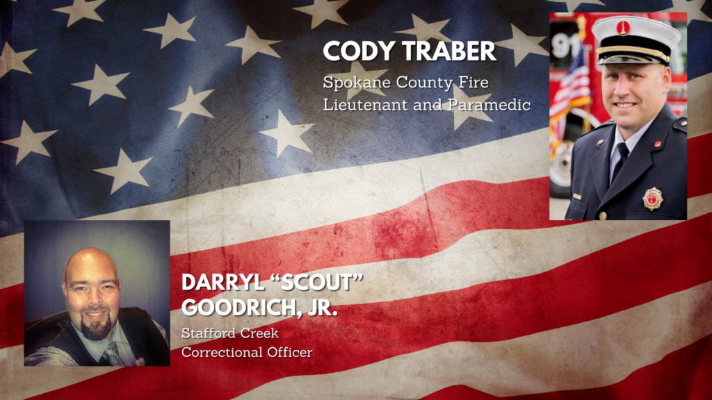 Header photo graphic of an American flag with overlay photos of two men, one is a formal firefighter's uniform, the other in a vest and tie.