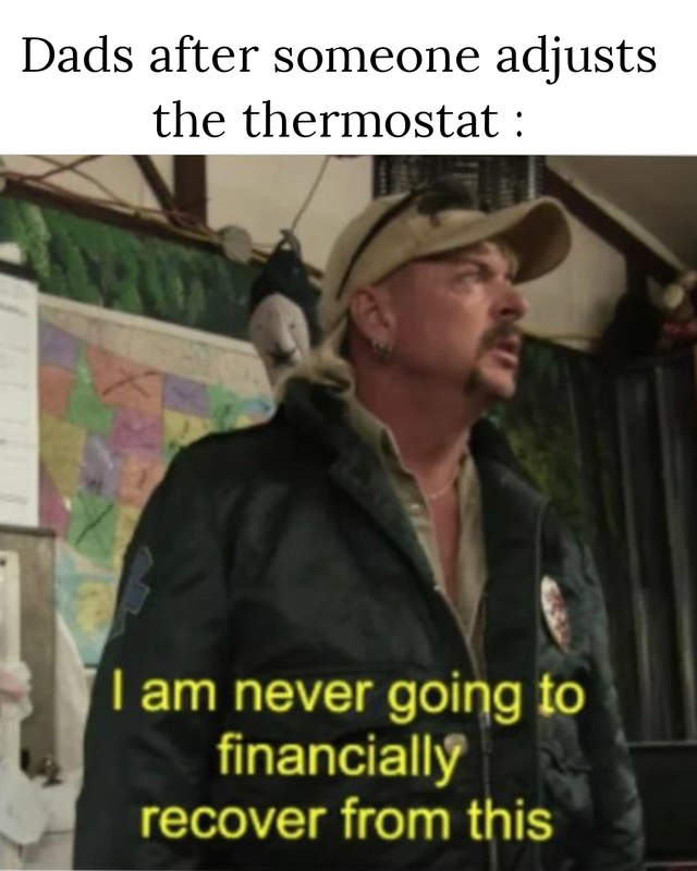a meme about touching the thermostat