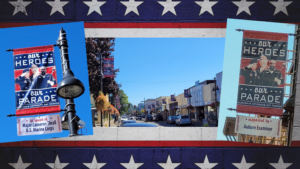 header graphic displaying a tribute banner for Major Cameron Thrall, the Auburn Examiner and downtown main st Auburn