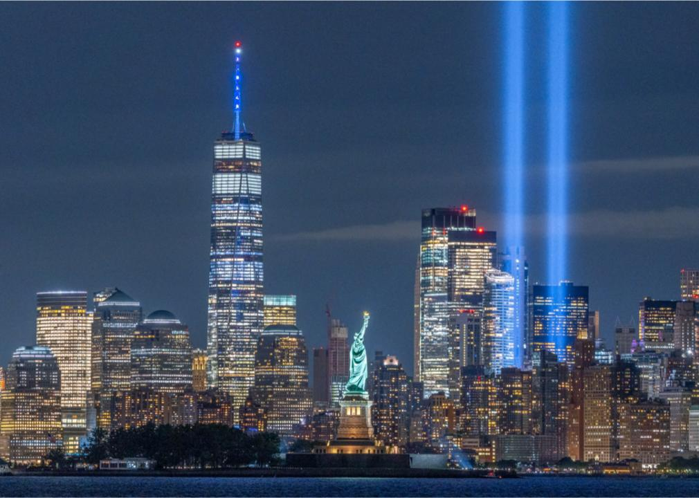 a photo of two memorial lights shining in the NYC skyline in place of the twin towers