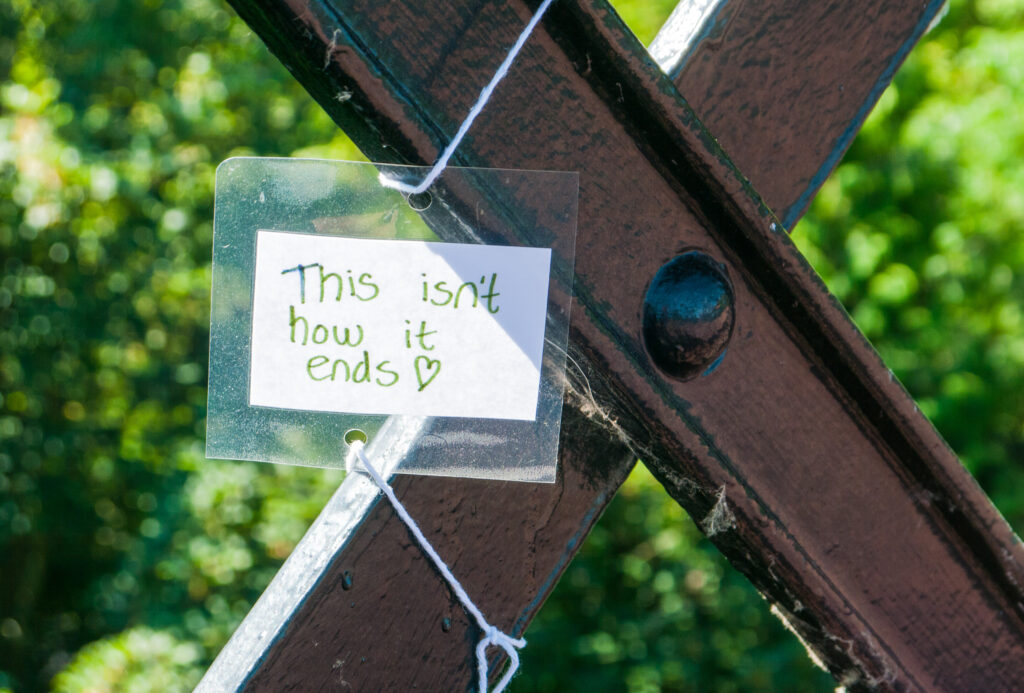An anti suicide note on a bridge in Newcastle, England