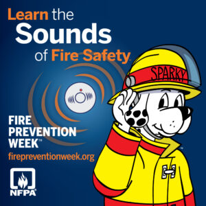 A graphic for 2021 Fire Prevention Week Sounds of Safety